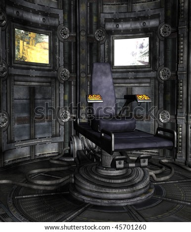 Science-fiction room with a chair and screens