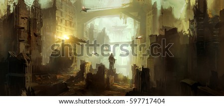 Stock Photo Science fiction scene.