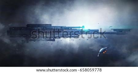 Science fiction scene,3D rendering.