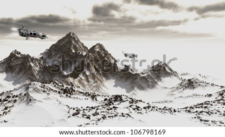 Science fiction scene of three scout patrol ships flying through the mountains on an icy alien planet, 3d digitally rendered illustration