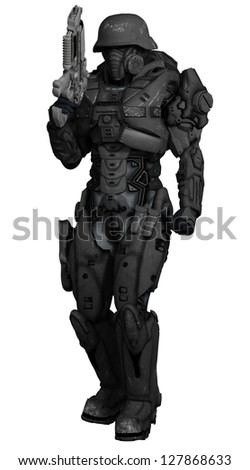 Science fiction space marine commando isolated on white, 3d digitally rendered illustration
