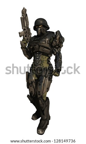 Science fiction space marine commando wearing metallic armour isolated on white, 3d digitally rendered illustration