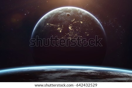 Science fiction space wallpaper, incredibly beautiful planets, galaxies, dark and cold beauty of endless universe. Elements of this image furnished by NASA #642432529