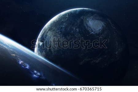 Science fiction space wallpaper, incredibly beautiful planets, galaxies, dark and cold beauty of endless universe. Elements of this image furnished by NASA #670365715