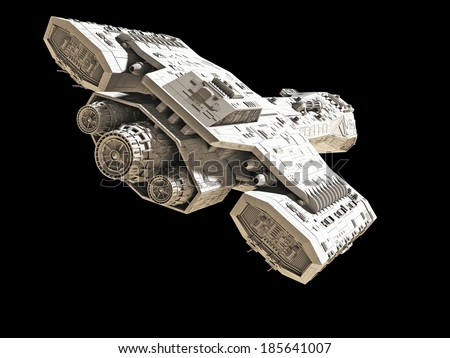 Science fiction spaceship isolated on a black background, back angled view, 3d digitally rendered illustration