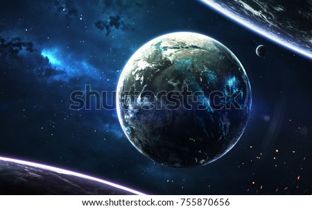 Science fiction wallpaper. Planetary system thousands light years far away from Earth. Elements of this image furnished by NASA