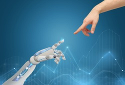 science, future technology and progress concept - human and robot hands reaching to each other