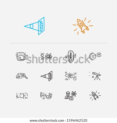 Science icons set. Cosmology and science icons with elementary particle physics, optical physics and astronaut helmet. Set of orbit for web app logo UI design.