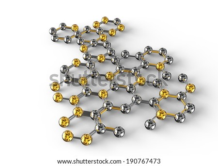 science illustration of abstract molecule on white background. 3D chemistry concept