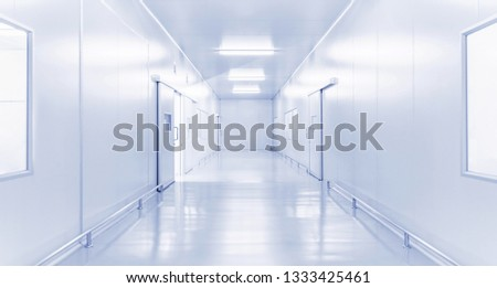 science laboratory or modern factory industrial interior with brightness fluorescent lighting