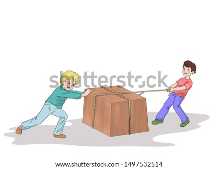 science lesson subject, illustration of two boys showing push and pull force.two school students using push and pull force to move assets.