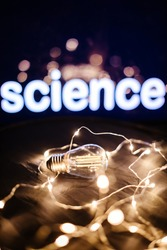 science light filament idea background. Energy lamp filament. Invention idea.