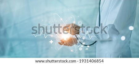 Science of medical, Doctor holding stethoscope and touching on global medical healthcare network connection on modern futuristic hospital background, Medicine, Innovation and technology of medical.