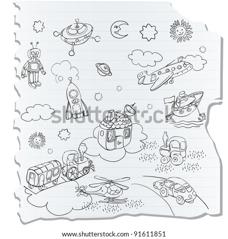 science retro 3D toys doodle on a a notebook page, childlike drawing style
