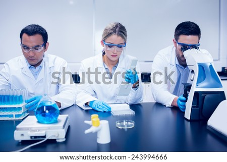 Science students working together in the lab at the university