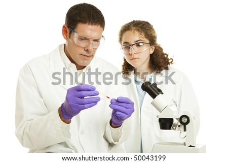 Science teacher and high school student working in biology lab.  Isolated on white.