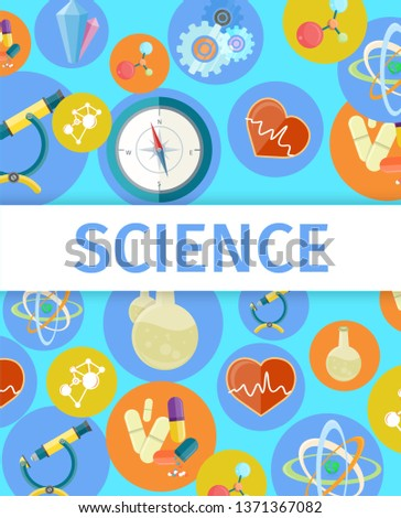 Science trendy inventions from various branches colorful raster poster. useful thing created by experiments for curing diseases banner design