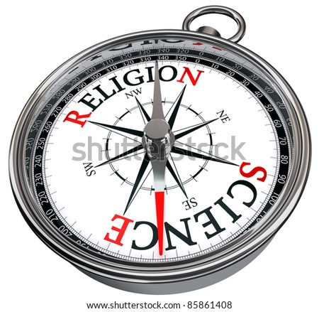 science versus religion concept compass isolated on white background - stock photo