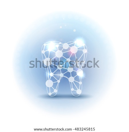 Scientific abstract tooth beautiful design light blue color