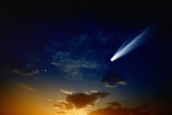 Scientific background - bright comet in glowing sunset sky