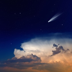 Scientific background - comet in dark blue sky with stars, glowing clouds