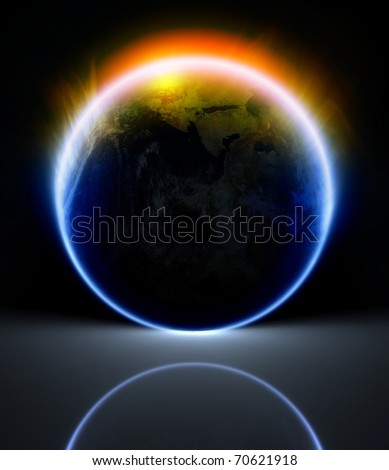Scientific background - glowing planet with reflection