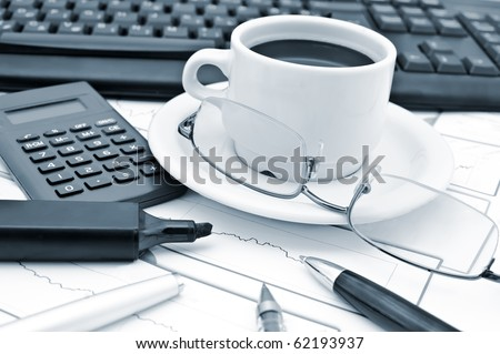 Scientific Calculator with glasses and a cup of coffee