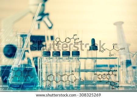 Scientific equipment in vintage tone