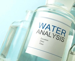 Scientific research and water analysis sample