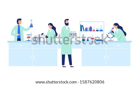 Scientific research. Scientist people wearing lab coats, science researches and chemical laboratory experiments. Chemistry clinic laboratories, microbiology pharmaceutical research  illustration