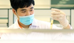 Scientist analysis the results of Most Probable number (MPN) technique for counting the Coliform bacteria cultured with Tryptose Lauryl broth. By observe gas air in MPN Durham tube holding in hands.