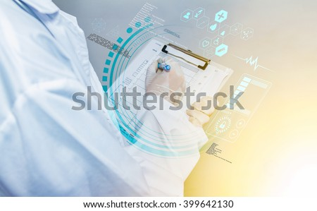 Scientist checklist or entry data something about research and experiment on white background, photo design with digital technology computer for design/decorate science content or other your content. #399642130