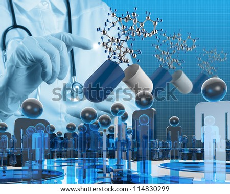 scientist doctor hand touch virtual capsule pill and molecular structure in the lab