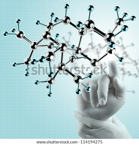 scientist doctor hand touch virtual molecular structure in the lab