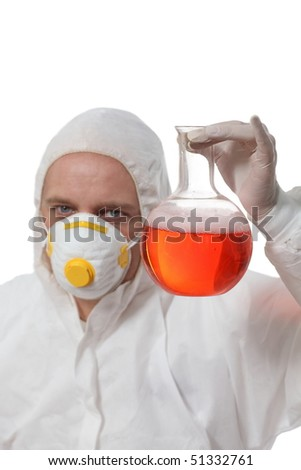 scientist holding glass flask with liquid