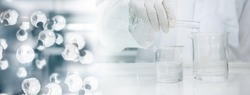 scientist in white coat poring water into glass beaker and chemical molecular structure in science laboratory banner background