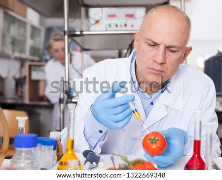 Scientist injecting reagent from syringe into tomatoes, performing scientific researching of food genetic modification in laboratory