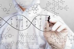scientist sketching DNA structure