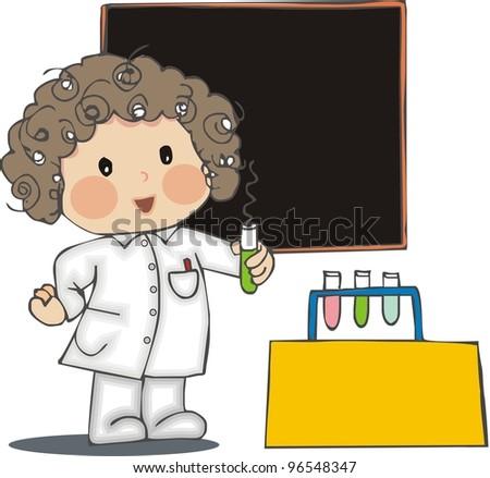 scientist with blackboard