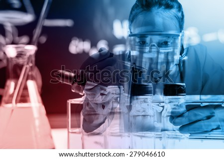 scientist with equipment and science experiments ;Double exposure style