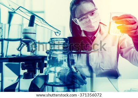 scientist with equipment and science experiments with lighting effect vintage style