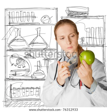 scientist woman does injection to an apple, isolated on different backgrounds
