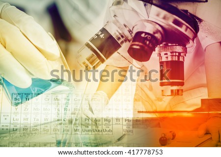 Scientists and scientific experiments to find out about the medical science or the scientific unit . The colors and scientific equipment beakers vitro microscopy .
