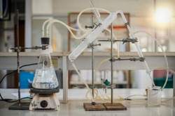 Scientists are distilling the solution to separate condensate. In the laboratory in Asia.