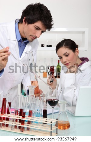 Scientists conducting an experiment