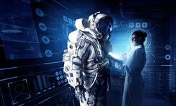 Scientists designing space suit. Mixed media