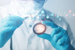Scientists or doctors in the lab are diagnosing and developing oral medications for (COVID-19) patients. health care concept , medical research, experimental success