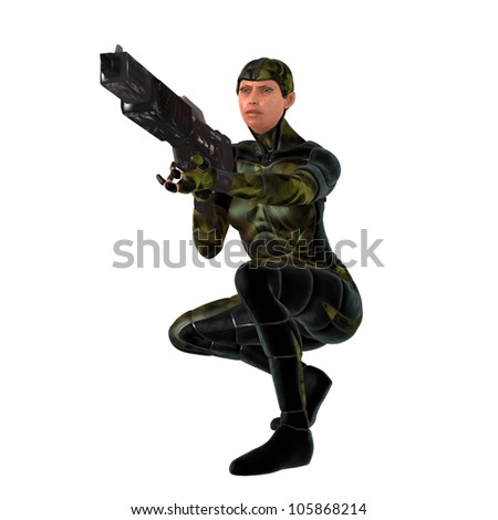 Scifi female soldier in camouflage body armour aiming weapon
