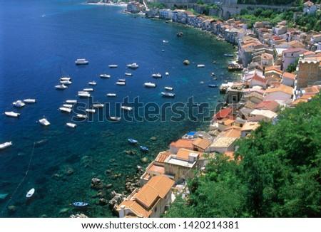 Scilla, district of Reggio Calabria, Calabria, Italy, Chianalea the fishing village seen from the castle #1420214381