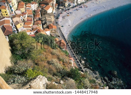 Scilla, district of Reggio Calabria, Calabria, Italy, view of the village with the Marina Grande beach seen from the castle #1448417948